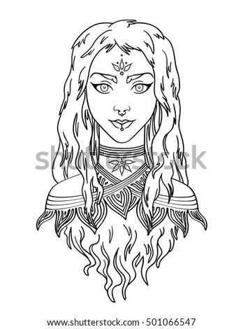 Stylish Beautiful Young Girl With Long Curly Hair Illustration Of
