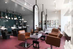 Stylish beauty salon interior. Hairdresser and makeup artist workplaces in one room, creative mirrors