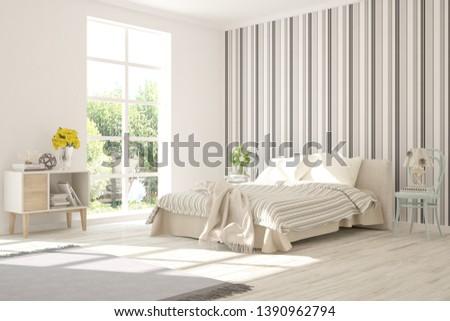 Stylish bedroom in white color. Scandinavian interior design. 3D illustration