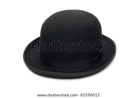 cce747f690d Stylish black bowler hat made of felt. Isolated on a white background.