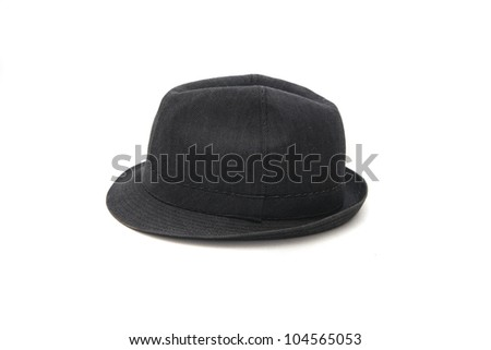 b34494827cf A classic low crown fedora hat in a dark blue color. Isolated on white  background.