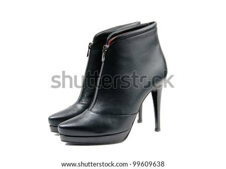 Stylish black leather women ankle boots  white isolated