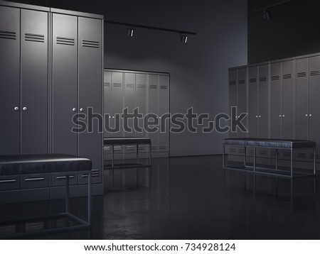Stylish black locker room in modern gym. 3d rendering
