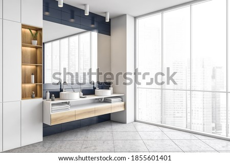 Stylish blue and white bathroom, two sinks with big mirror and large window. Washbasin in stylish living room, Illustration of modern new furniture in bathroom, 3D rendering no people ストックフォト ©