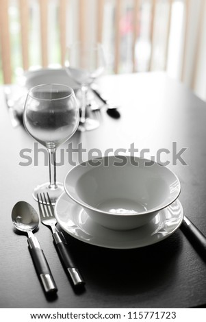 stylish brand new dishes on the table