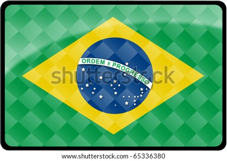 Stylish Brazilian flag rectangular button with diamond pattern overlay.  Part of set of country flags all in 2:3 proportion with accurate design and colors. - stock photo