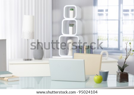 Stylish Bright Living Room With Laptop And Green Apple, Still-Life ...