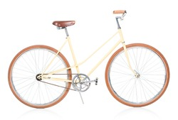 Stylish brown bicycle isolated on white background