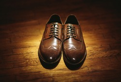 Stylish brown shoes for the groom