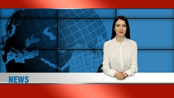 Stylish brunette anchorwoman in white blouse sits in broadcasting studio and telling the news