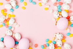 Stylish Candy frame  background.  Easter concept . Flat lay