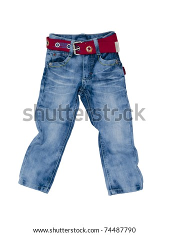 Stylish children's jeans with a red belt.
