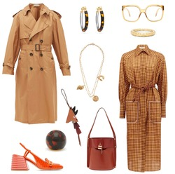 Stylish clothes. Collage of fashionable women's clothing, accessories, shoes and bags on a white background.