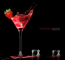 Stylish cocktail glass with red liquor splashing out, garnished with a ripe fresh strawberry, closeup isolated on black with sample text. Party concept. Template design.