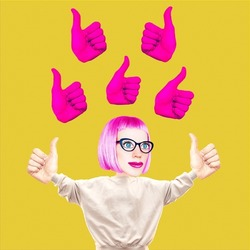 Stylish collage scene. Funny Girl character, Thumbs up. Social networks, like time, followers, promotion concept