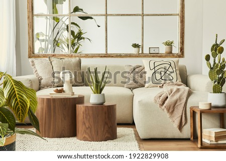 Stylish composition of living room with design beige sofa, wooden stool, cacti, plants, book, decoration, furniture and elegant personal accessories. Modern home decor. Open space. Template.