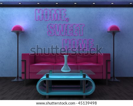 Stylish concept for home décor shop window with pink neon.