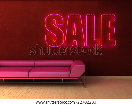 Stylish concept for home decor shop window with blue neon. Ample copy space.