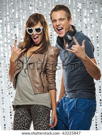 Stylish couple  in the nightclub