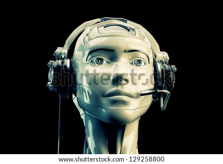 Stylish cyber support. Beautiful girl in headset. 3d render / Cute robotic operator
