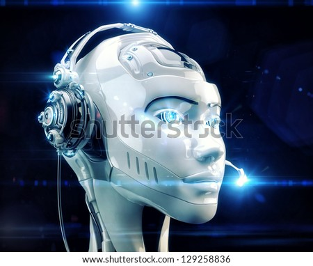 Stylish cyber support. Beautiful girl in headset. 3d render / Futuristic worker of call-center