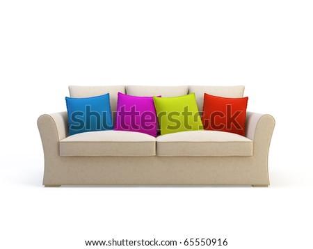 stylish 3d sofa isolated on the white background