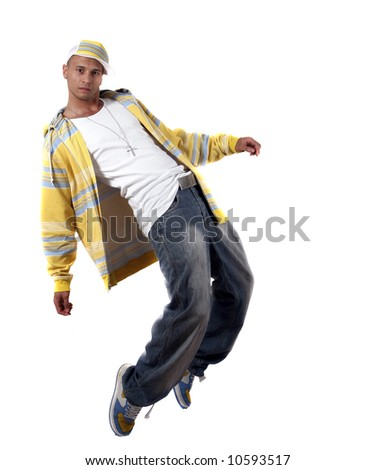 Stylish Dancer Young man with clothes in hip-hop style showing a dance move over pure white background.