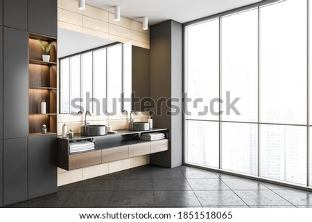 Stylish dark grey bathroom, two sinks with big mirror and large window. Washbasin in stylish living room, Illustration of modern new furniture in bathroom, 3D rendering no people ストックフォト ©