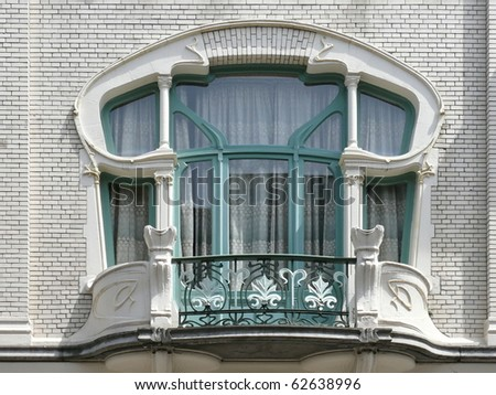 Stylish elegant balcony window and door in art nouveau style. More of this motif & more windows, doors in my port.