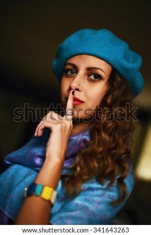 Stylish fashion girl in beret #341643263