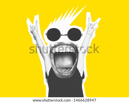 Stylish fashion, sexy blonde, bad crazy girl in a black T-shirt and rock glasses scream, holding her head. Dangerous rocky emotional woman. Black and white tone yellow color. Rock festival.