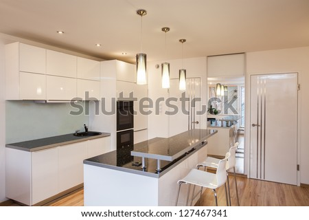 Stylish flat - Interior of modern and bright kitchen