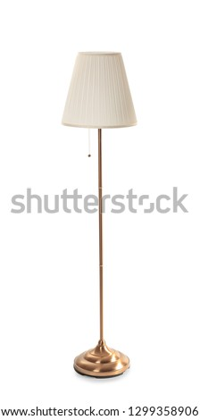 Stylish floor lamp on white background
