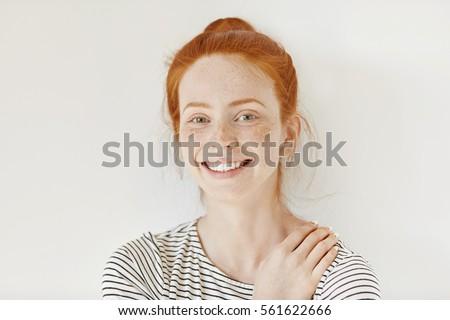 stylish freckled teenage girl...
