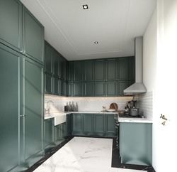 Stylish fully kitchen in modern classic style midnight green spray painted cabinet and white brick tiles install on the wall with marble floor tile / interior design