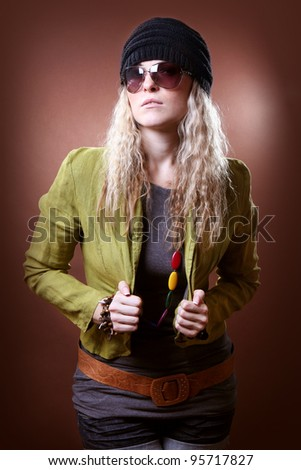 stylish girl on a brown background