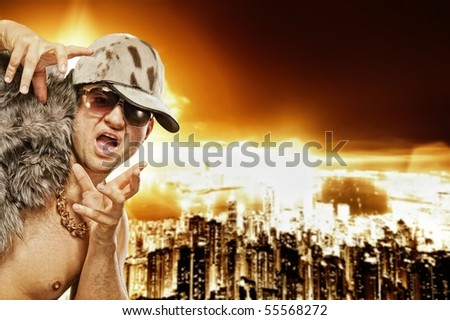 Stylish glamorous rapper in front of modern night city