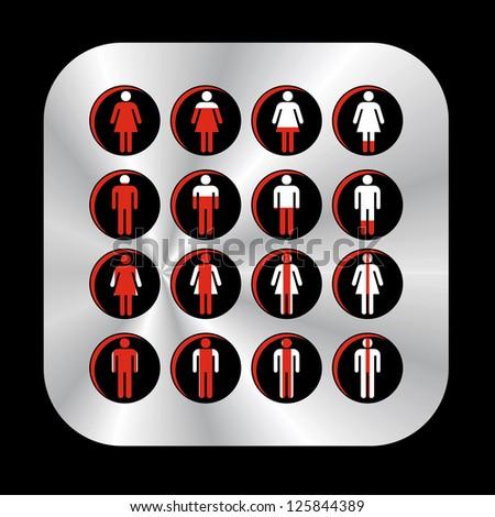Stylish Glowing Toilette Symbols