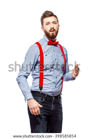 97ae5c11748b stylish guy in the blue shirt with red bowtie and suspenders isolated on  white. dancing