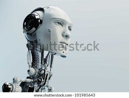 Photo of  Stylish handsome cyborg head in profile / Futuristic man
