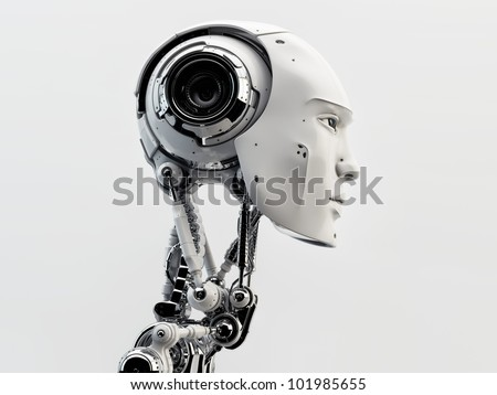Stylish handsome cyborg head in profile / Futuristic man