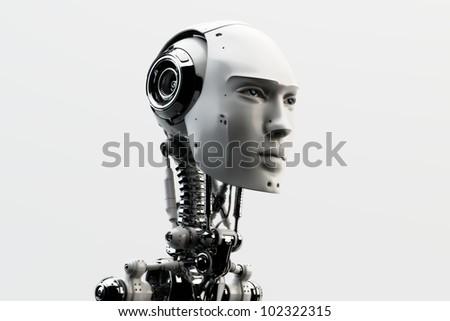 Stylish handsome cyborg head in profile / Futuristic man