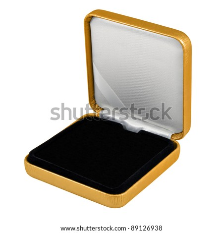 stylish hi quality opened gold leather case with black interior isolated over white