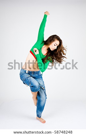 Hip Hop Dance Group Poses Stylish hip-hop dancer posing