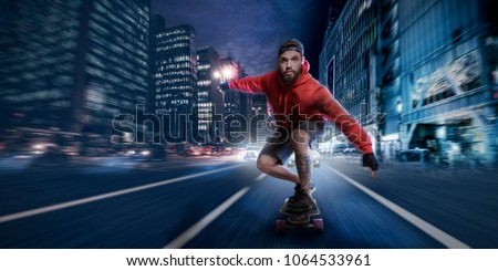 Stylish hipster man in red hoodie shirt and baseball cap cruises with high speed on a longboard in the streets of a downtown district then he got chased by a crazy sport car driver