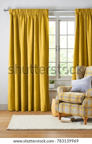 Stylish home living room with Curtains #783139969