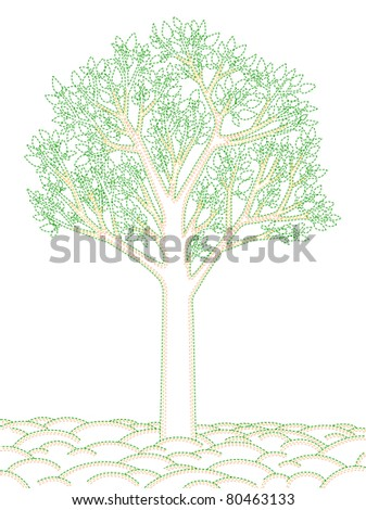 stylish illustration of a tree with dashed outline JPEG