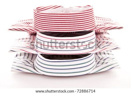 Stylish image of the collars of three shirts