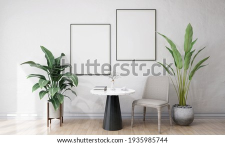 Stylish interior design of living room with table and chair, tropical plant in ceramic pot, Mock up poster frame on the ginger color wall. Template. Home decor. 3D Rendering