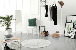 Stylish interior of female dressing room